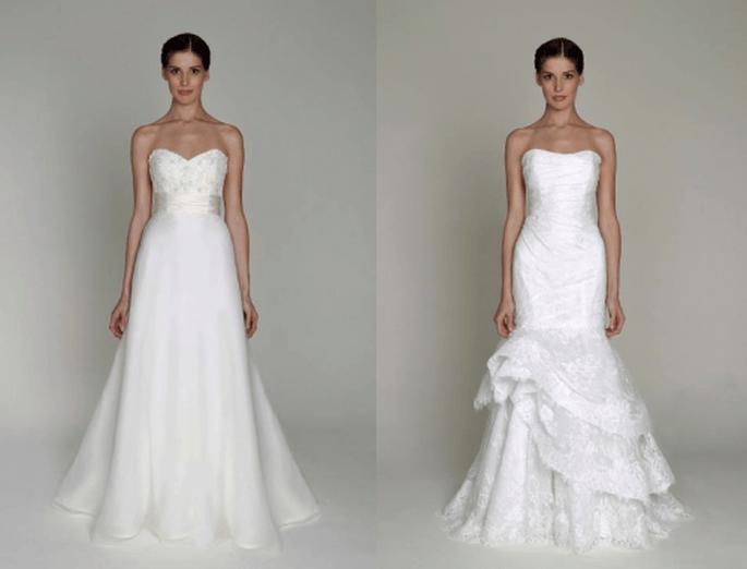 Vestidos de novia en color blanco con corte princesa y sirena - Foto Monique Lhuillier