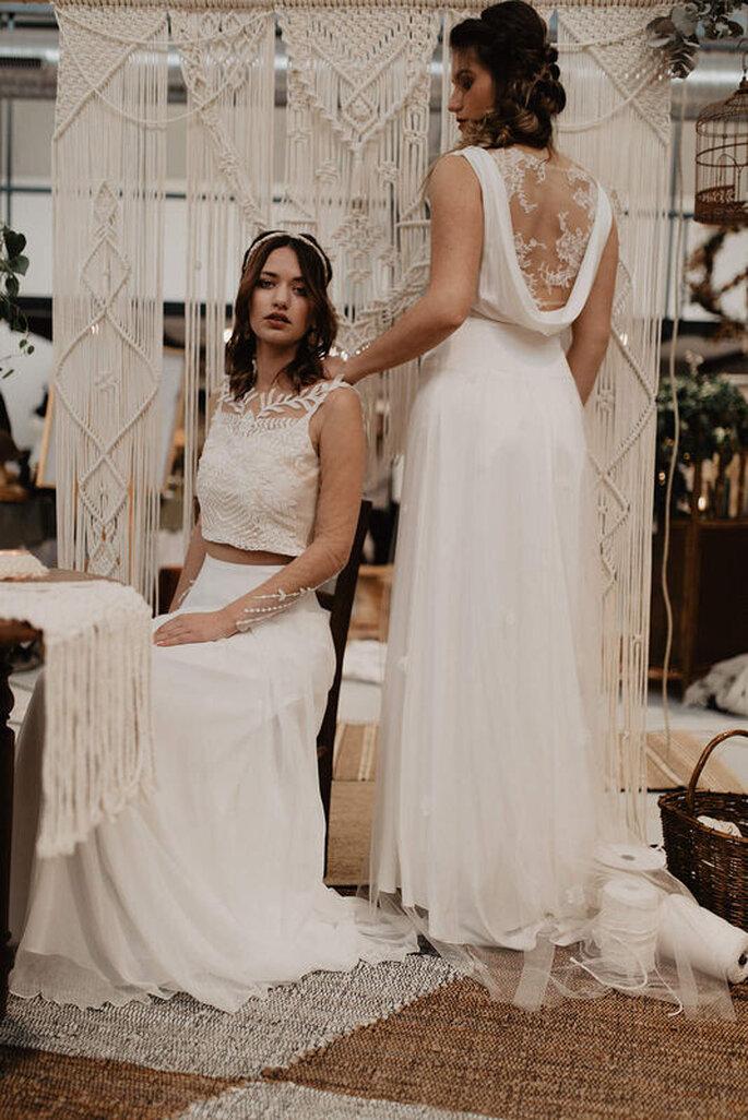 Robe de mariée simple avec dentelle