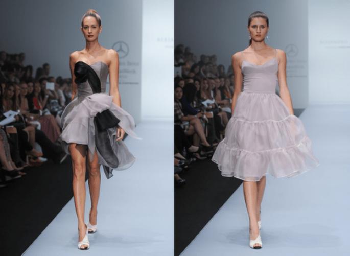 Vestidos de fiesta femeninos en color lila con siluetas elegantes - Foto Mercedes Benz Fashion Week México