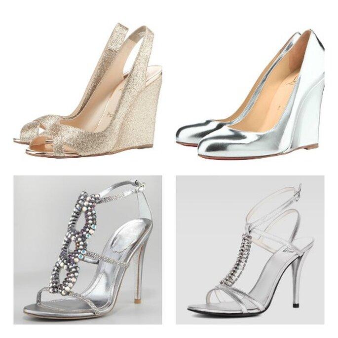 El efecto en los zapatos de plata también funciona muy bien con aplicaciones brillantes. Por encima, Christian Louboutin, BAICO a la izquierda, Renè Caovilla, abajo, derecha, Stuart Wietzman.