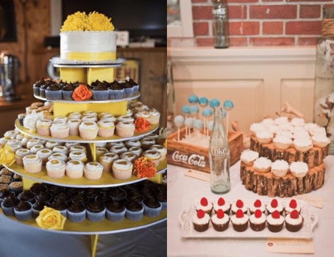 Deleita a tus invitados con unos ricos cupcakes en la recepción de tu boda - Foto Sweet Little Photographs y Jen Rodriguez