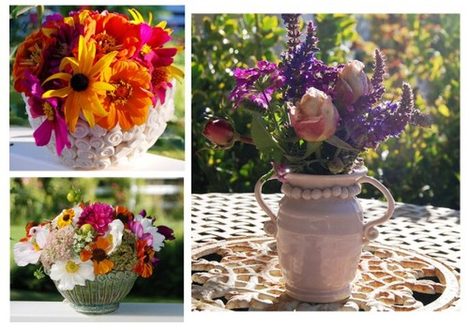 Flores primaverales y elegantes en macetas originales - Foto: hello julie