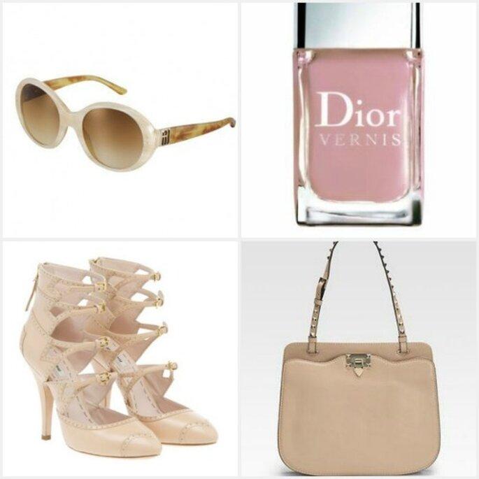 4 dettagli color nude per le invitate: occhiali da sole Ralph Lauren, smalto Dior, borsetta Valentino e decollete a schiava Miu Miu