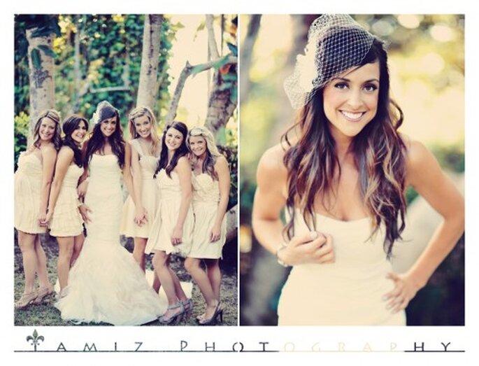 La novia eligió un vestido de novia corte sirena y un look effortless - Foto Tamiz photography