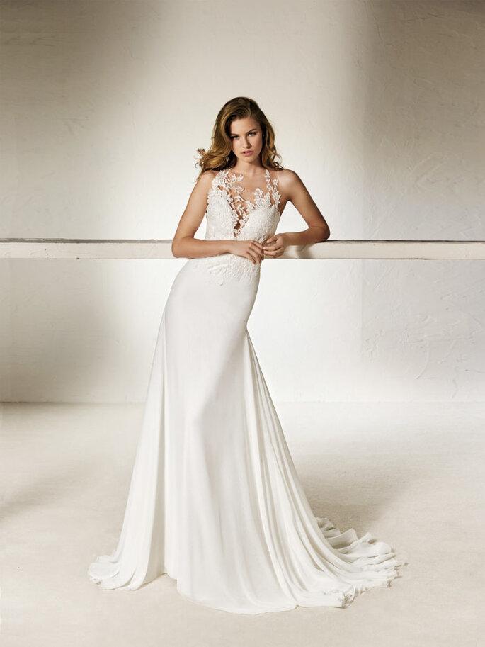 Vestido de novia con transparencias
