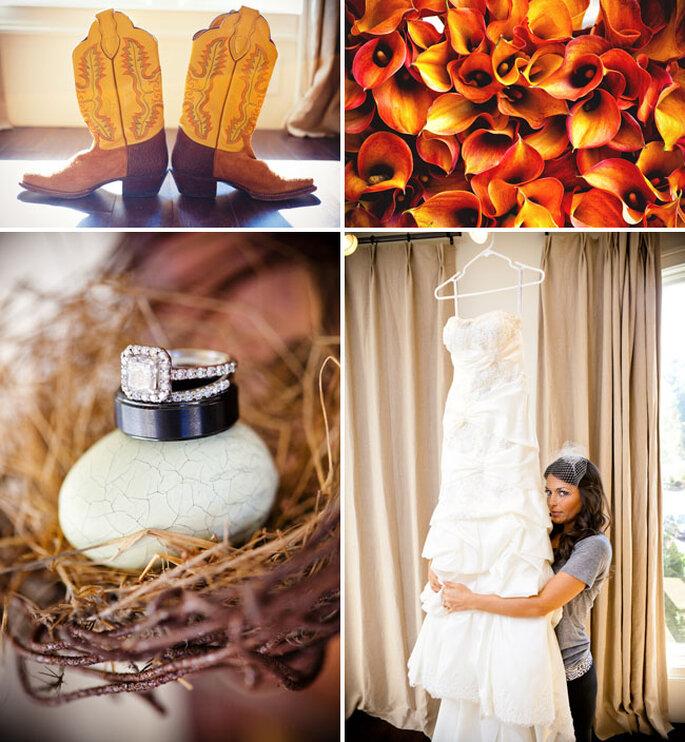 Hochzeitsdekoration in warmen Farbtönen - Foto: Callaway Gable/Lauren Belknap