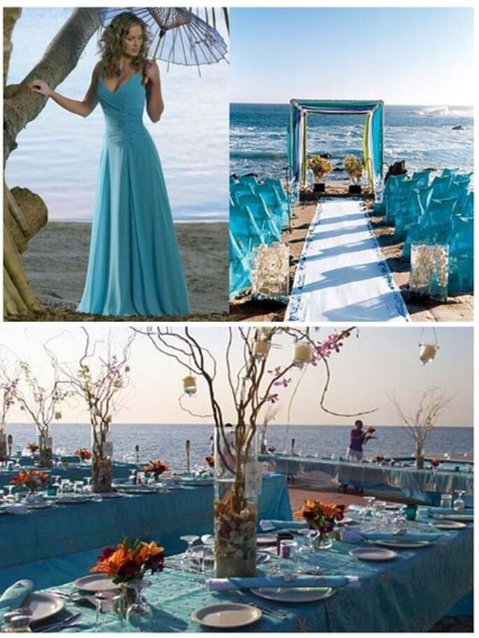Azul do vestido a decoração Foto:weddingsonthefrenchriviera