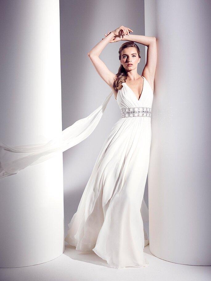 Vestido de novia corte imperio