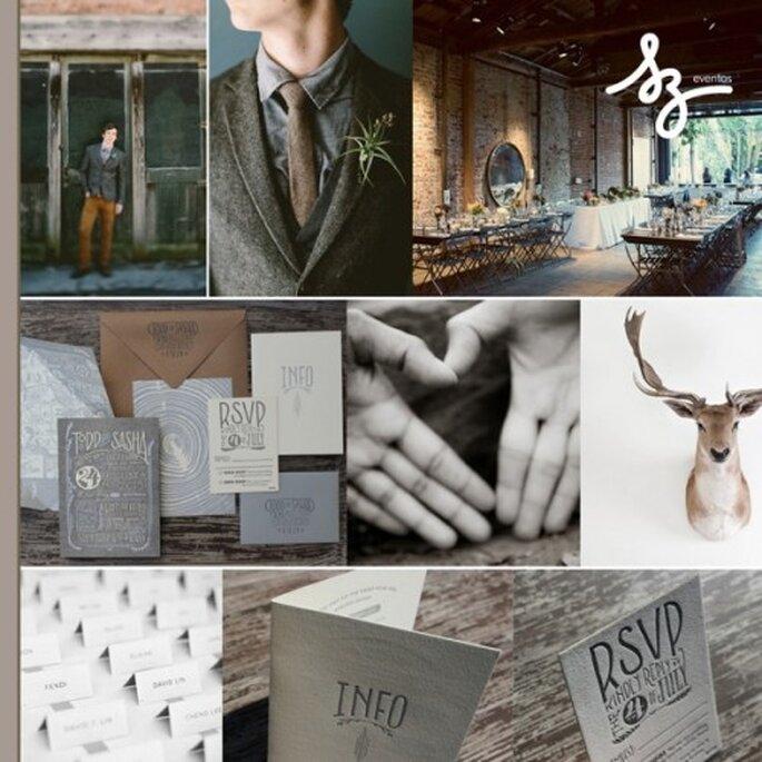 Collage de inspiración para una boda bohemia y chic - Fotos greenweddingshoes.com, ohsobeautifulpaper.com, fentonandfenton.com.au - Diseño de Raisa Torres para SZ Eventos