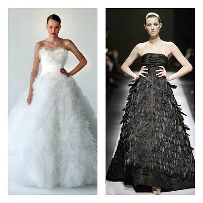 A gauche, robe de mariée Marchesa en plumes ; à droite, robe de mariée noire et à plumes Chado Ralph Rucci - Photo: missaetocadosycomplementos.blogspot.it
