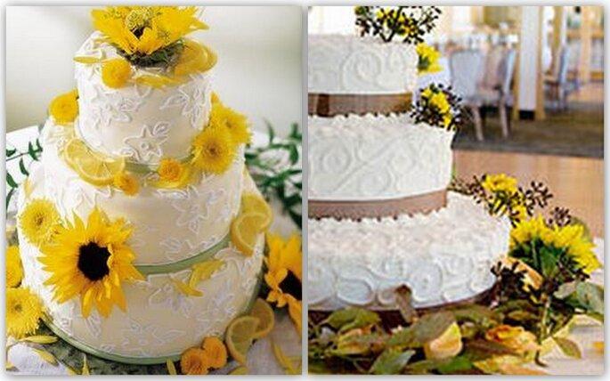 Torte Matrimonio Girasoli : Un matrimonio tinto di giallo decorare con i girasoli