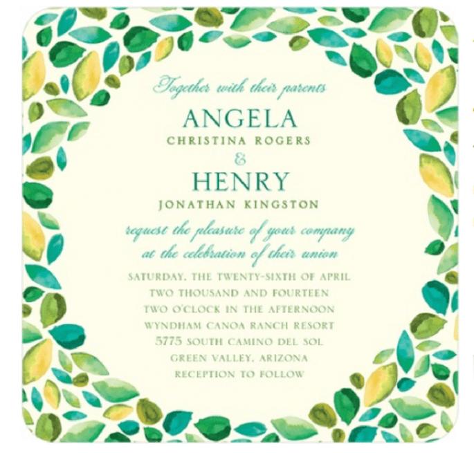 Invitación de boda con detalles de hojas en color verde esmeralda - Foto Wedding Paper Divas