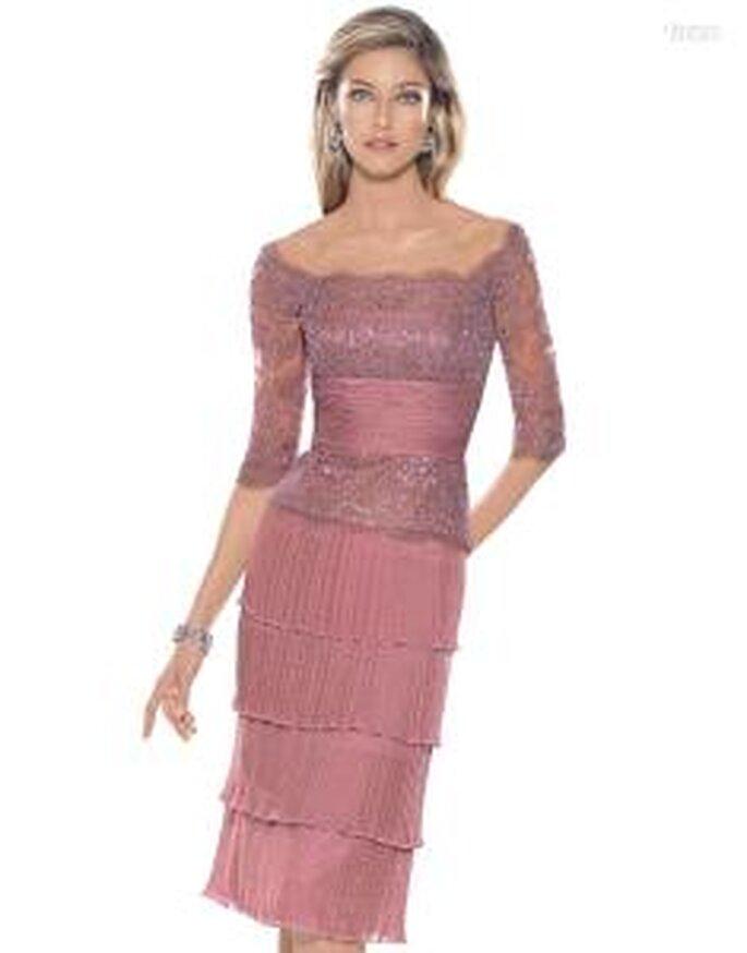 Pronovias Cóctel 2010 - Alcaraz, vestido corto ajustado rosa, de escote barco, manga 3/4