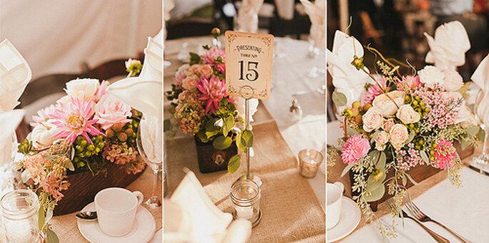 Tischdekoration für Ihre Hochzeit in Pastelltönen - Foto: Sweet Little Photographs.