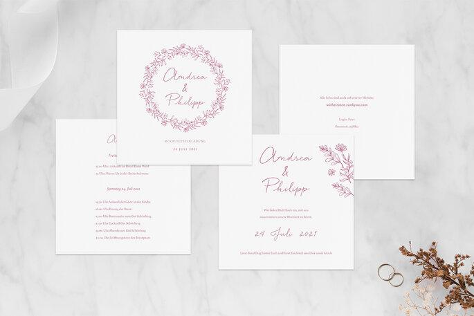 Hochzeitseinladung Design Rosenpracht in rosa Klappkarte quadratisch Paper Studio Zankyou