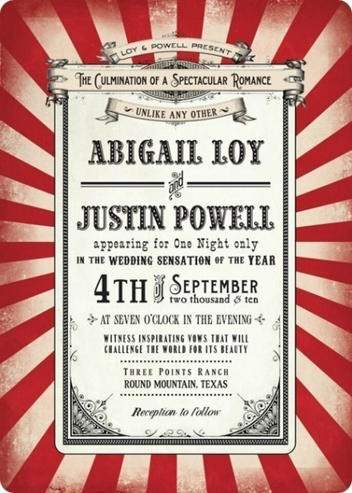 Inviti ispirati al circo! Source: www.etsy.com