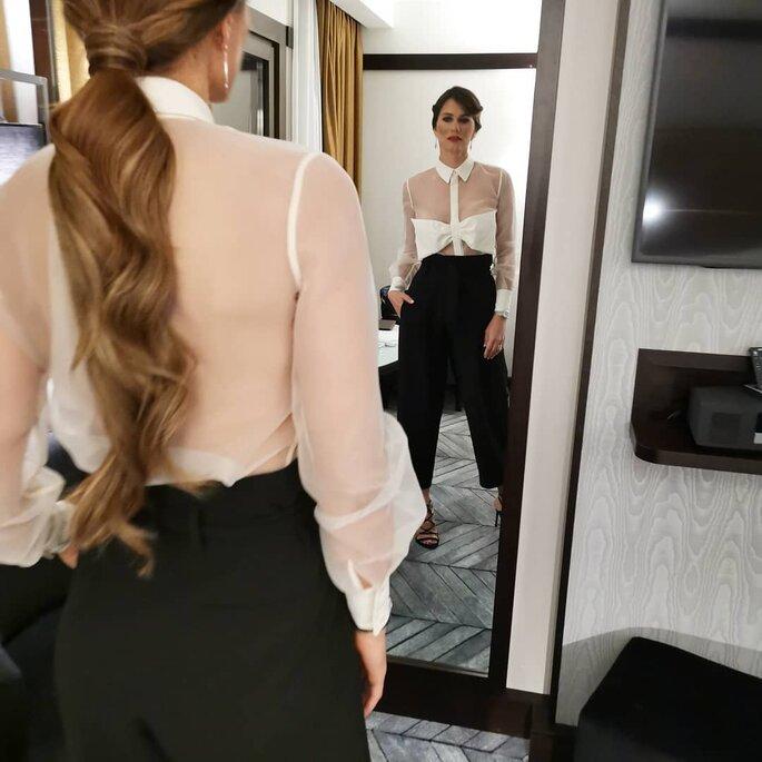 Cláudia Vieira penteado rabo-de-cavalo baixo