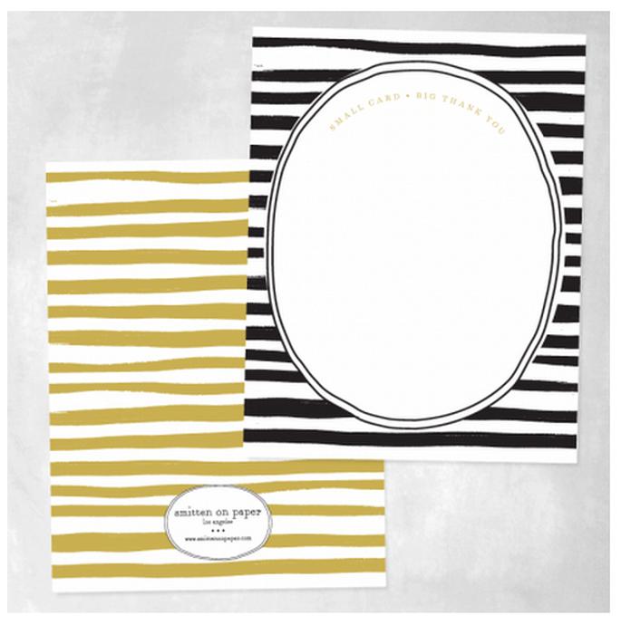 Tarjetas de agradecimiento con rayas en colores negro y mostaza - Foto Smitten on Paper
