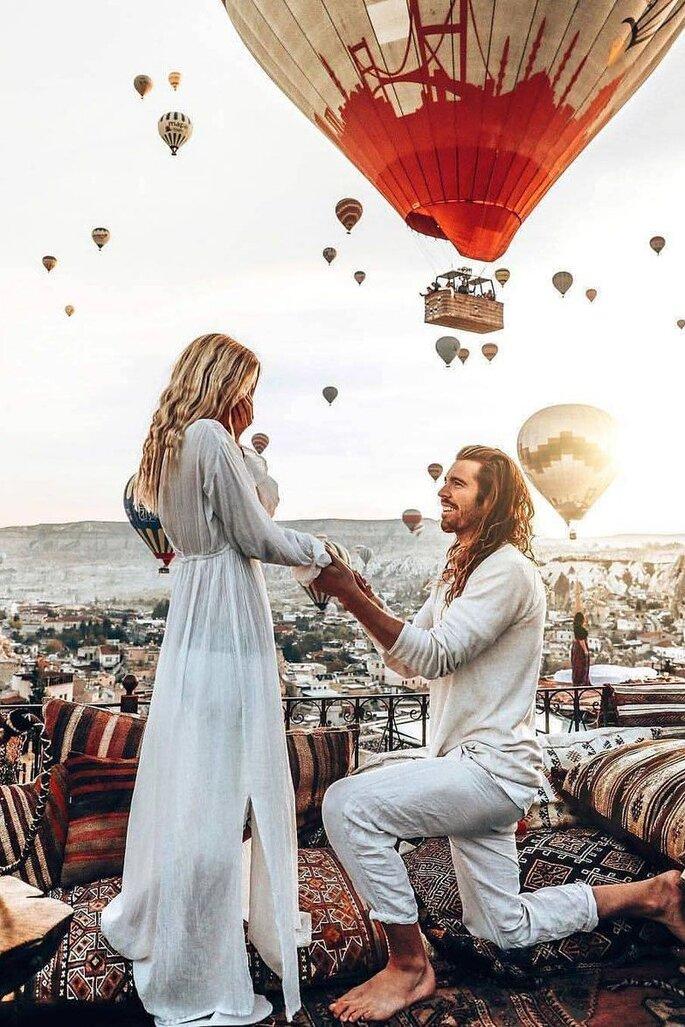 Besonderer Heiratsantrag in Türkei Heißluftballons