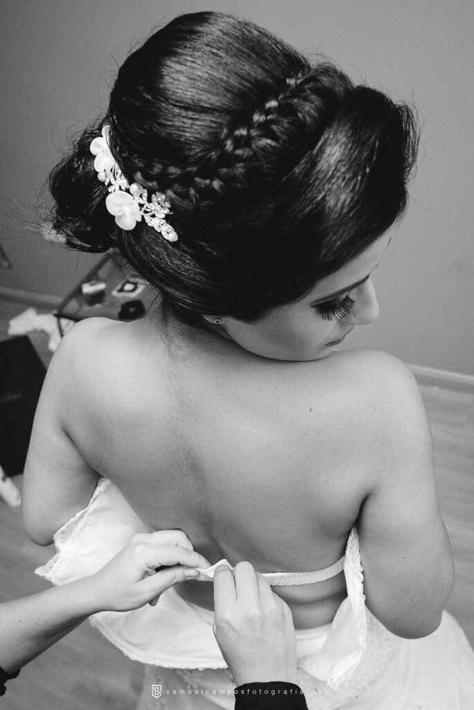 Penteado com trança noiva