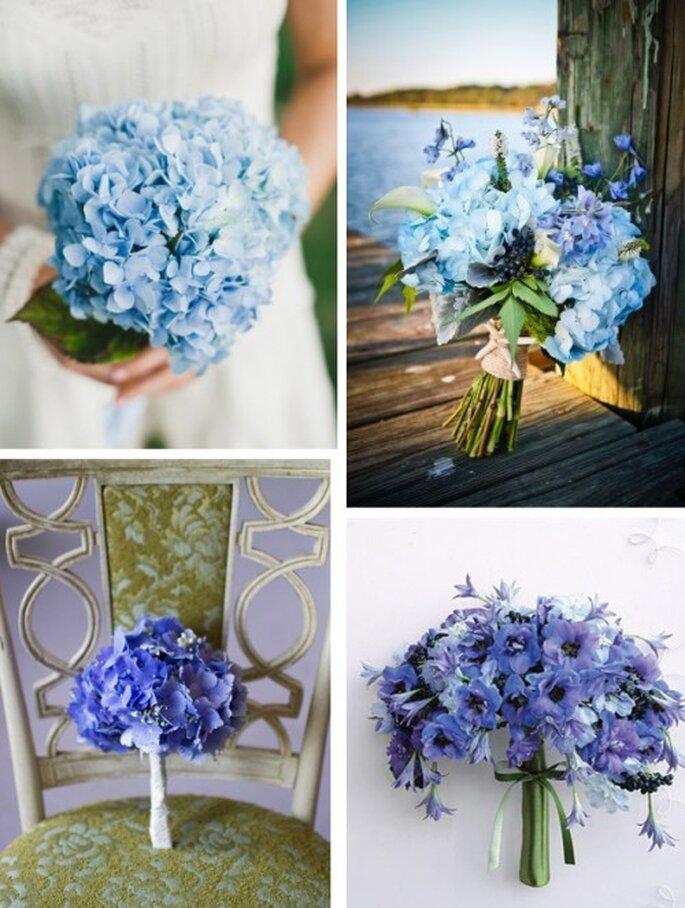 Blaue Brautsträuße setzen farbliche Akzente – Foto: ElizabethAnneDesigns.com