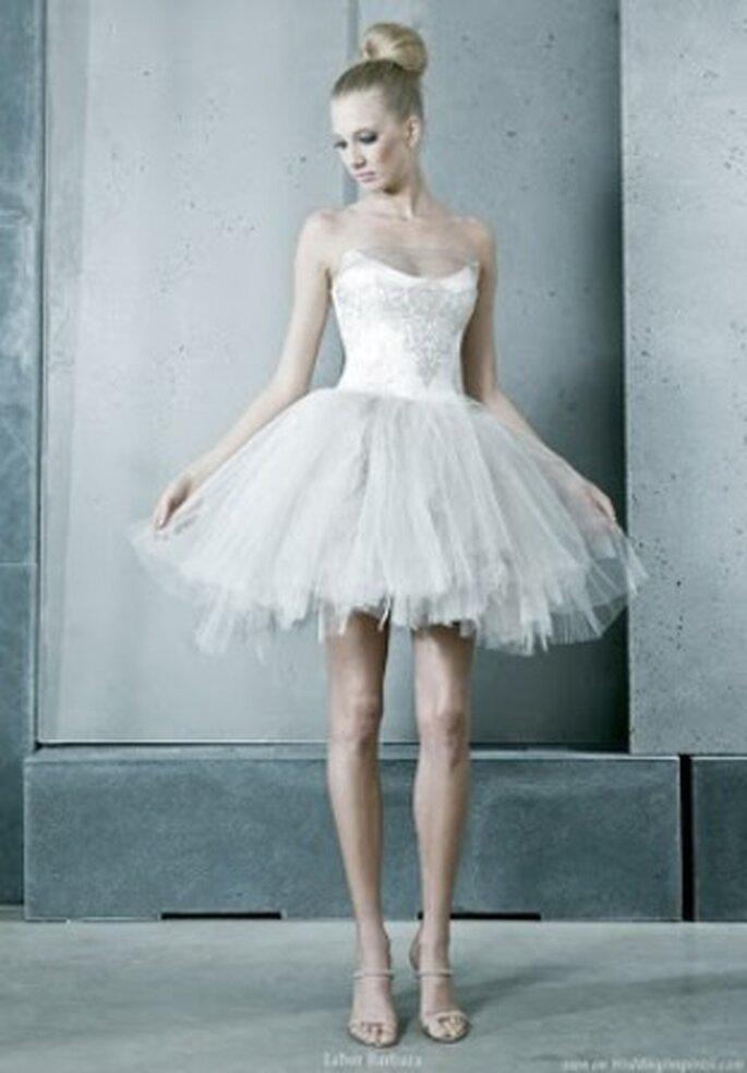 Vestido de novia corto, tipo bailarina