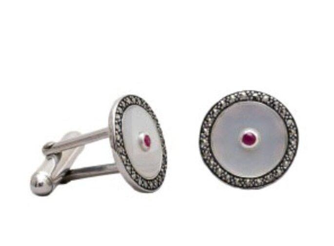 Gemelos de plata y nácar, estilo Decó