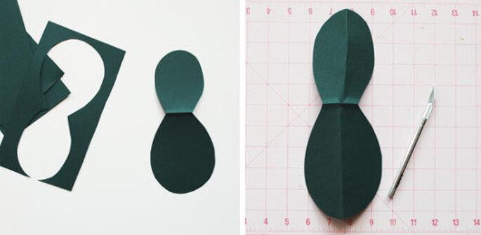 Corta las hojas de papel craft en forma de 8. Foto: www.oncewed.com