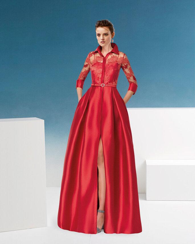 Vestido de fiesta rojo con parte superior en encaje y falda voluminosa