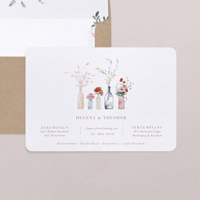 Hochzeitseinladungen Trends minimalistisch Botanik