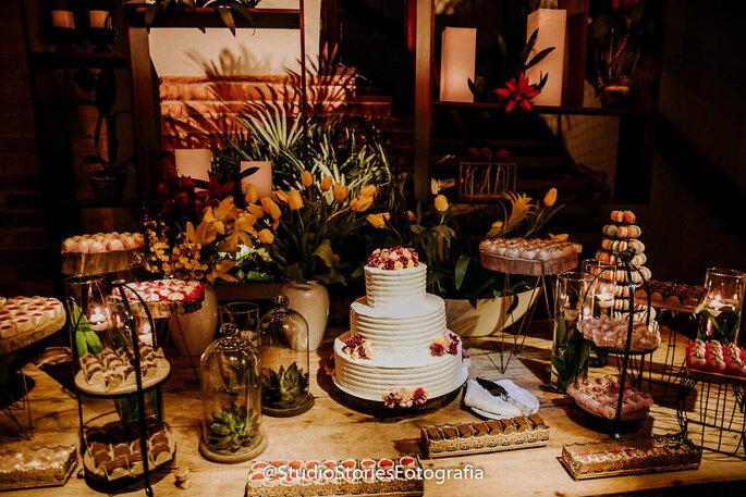 Mesa de bolo e doces do Pier 151
