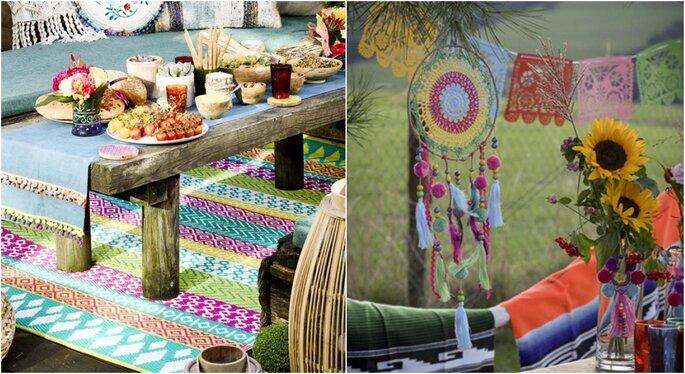 Alfombras para una boda hippie