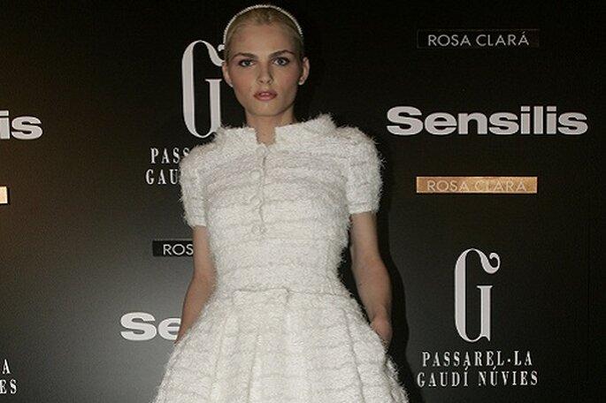 El modelo Andrej Pejic vestido de Rosa Clará. Foto: Barcelona Bridal Week.