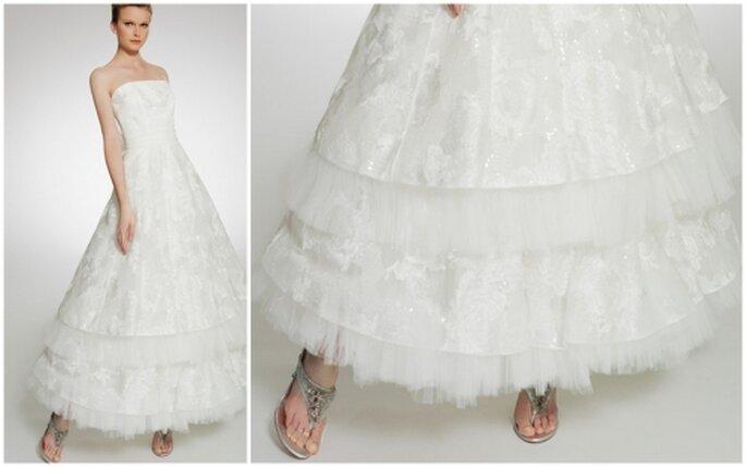 Vestido de novia escote strapless, corte princesa, largo a los tobillos. Patricia Avedaño