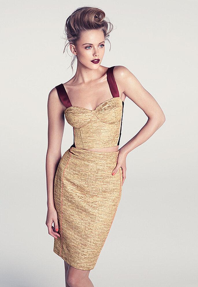Top y falda dorado con tirantes, de H&M primavera-verano 2012