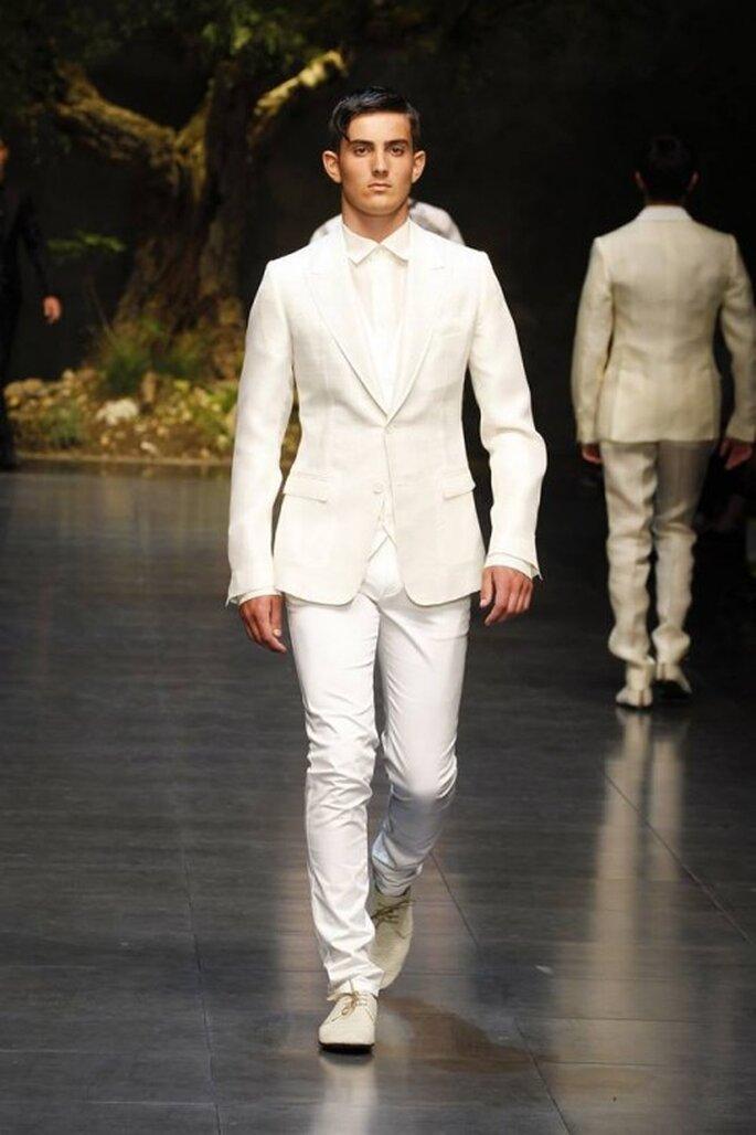 Traje para novio 2014 en color blanco - Foto Dolce & Gabbana