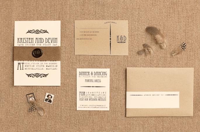 Invitación de boda en color nude - Foto Kindred Art Photography