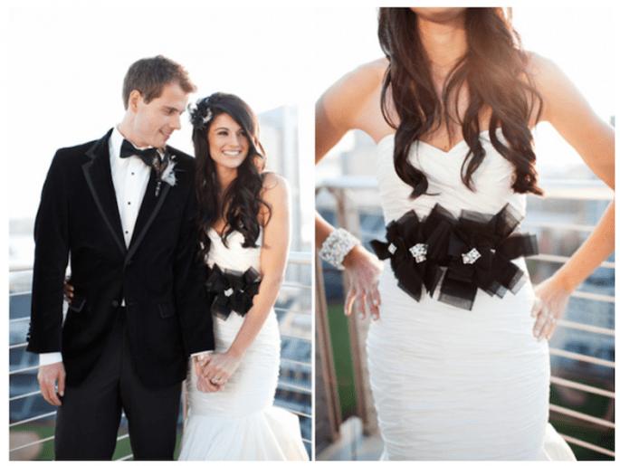 Inspiración en blanco y negro para tu look de novia - Foto Love Ala
