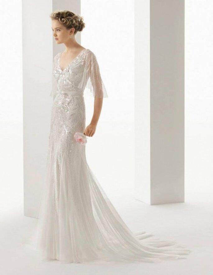 vestido de novia 2014 en color blanco con funda de pedrería - Foto Rosa Clará