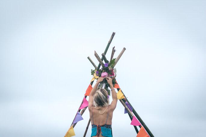 Decoração do altar casamento hippie