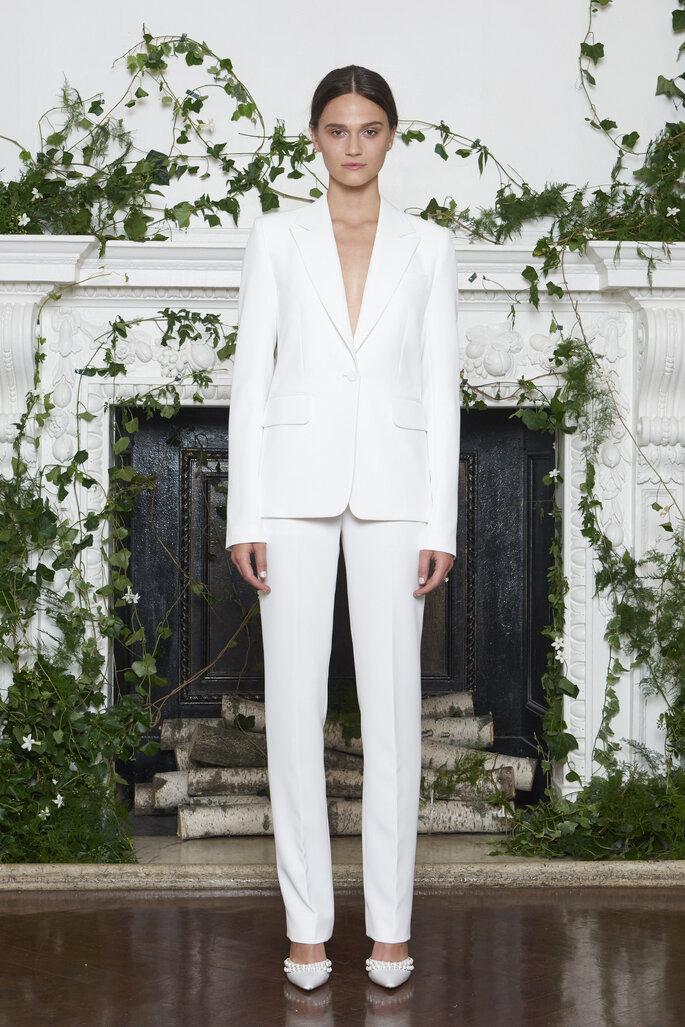 Pantalón y saco blanco para boda civil