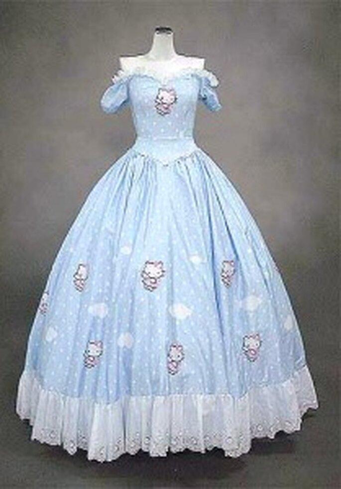 Hello Kitty 2009 - Vestido largo de corte princesa, escote barco en forma de corazón, estampado de nubes