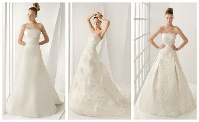 Prinzessinnen Hochzeitskleider von Rosa Clará - Modelle links Alada, MitteAlejandria, rechtsLarisa - Fotowww.rosaclara.es