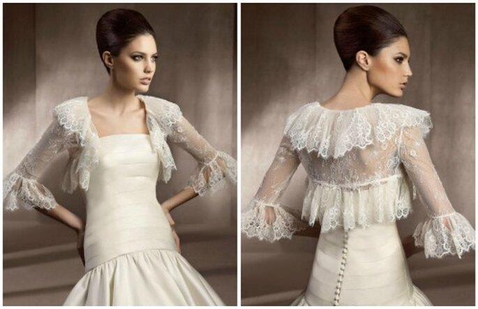 Bolero de novia con mangas de volantes, inspiración flamenca. Foto: Pronovias