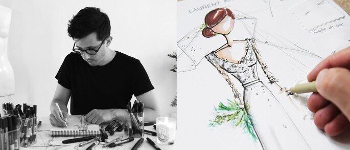 Laurent Kapelski en train de dessiner une robe sur-mesure pour une future mariée