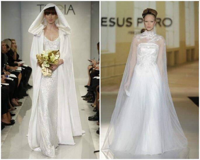 Dos estilos para que elijas: capa larga con capucha de Theia 2014 - Capa de encaje con bordados florales de Jesús Peiró 2014
