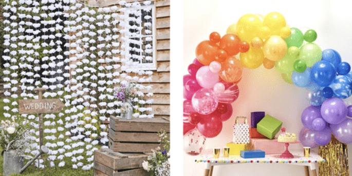 Rideau à fond floral et Arc de ballons arc-en-ciel 85 pièces