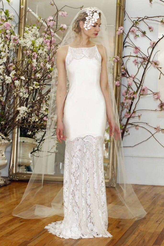 Свадебное платье без рукавов с расшитым декольте от Elizabeth Fillmore весна 2015