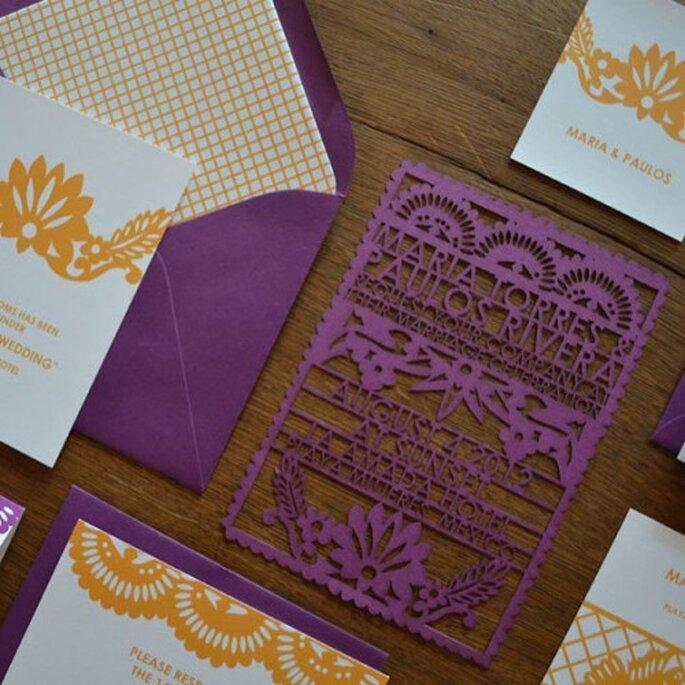Invitation mariage papel picado - aviedesigns.com