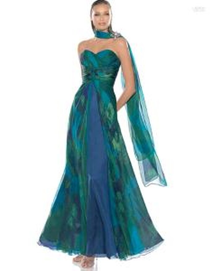 Pronovias Cóctel 2010 - Alada, vestido largo strapless en colores fríos